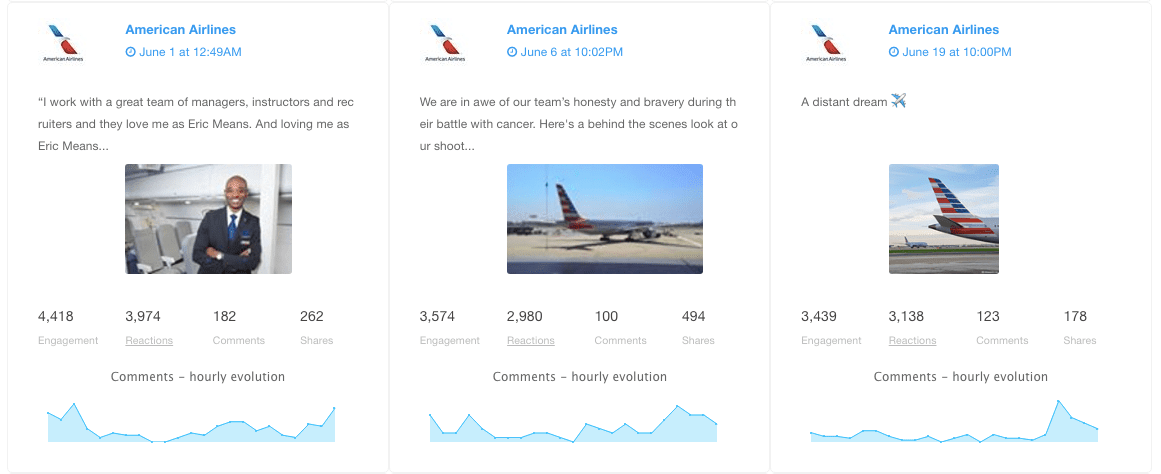 American Airlines - Facebook non-paid posts