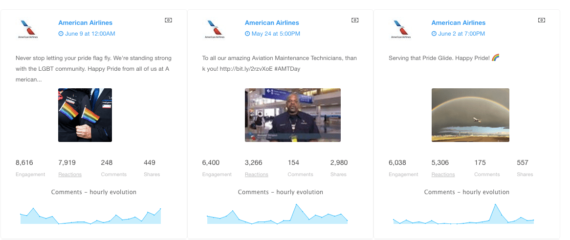 American Airlines - Facebook paid posts