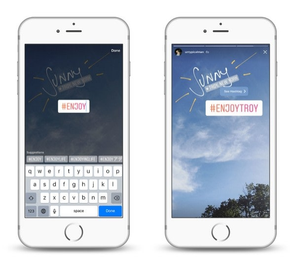 Use hashtags for your Instagram Stories