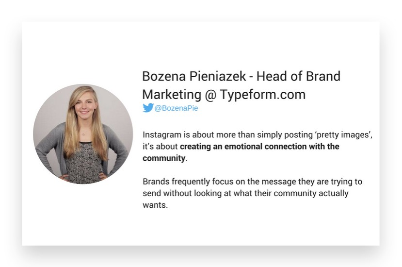 Bozena Pieniazek from Typeform.com about Instagram strategy