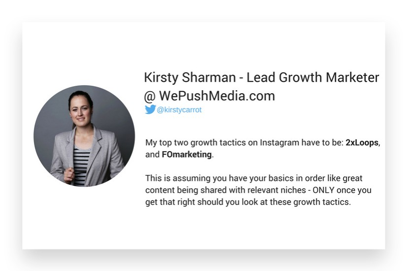 Kirsty Sharman from WePushMedia.com about growth hacking strategies on Instagram