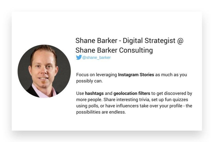 Shane Barker's thoughts about Instagram marketing