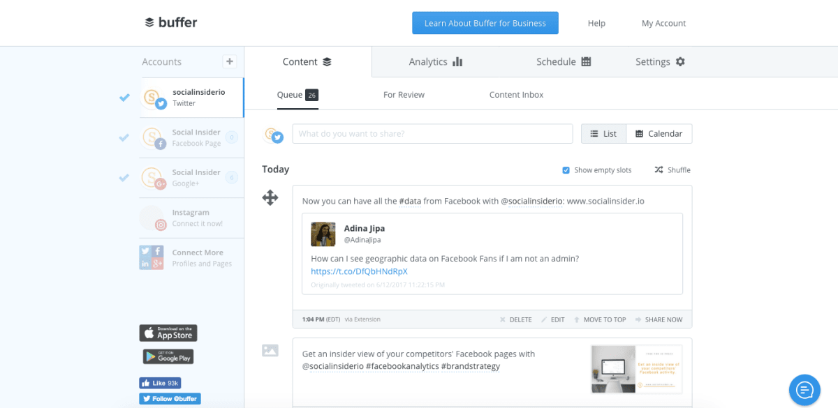 Buffer - social media scheduler