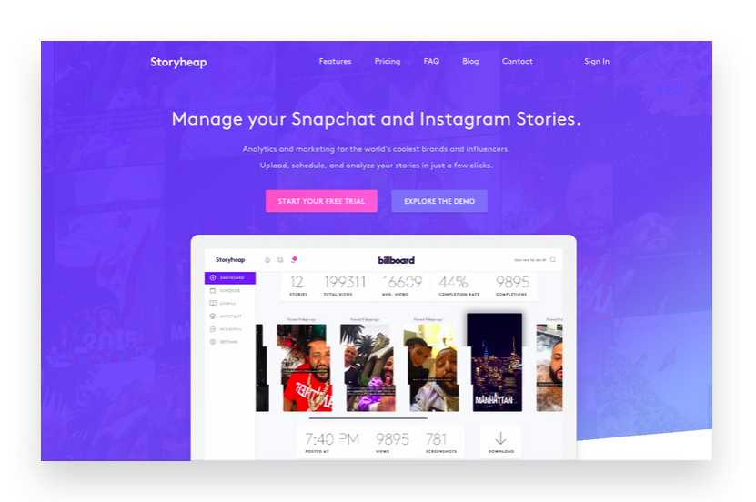 Create Instagram Stories with Storyheap
