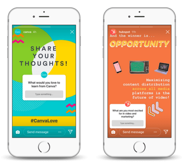 See how Canva and Hubspot are using the Instagram Questions Sticker feature