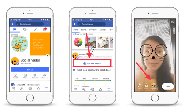 How to upload Stories to a Facebook page using the Facebook mobile app
