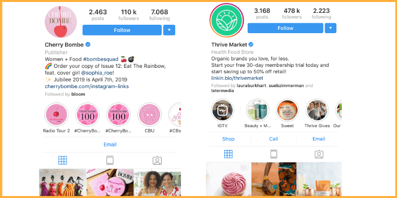 Include a call to action in your Instagram bio