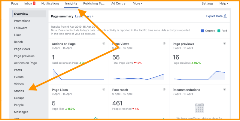 How to access insights about your Facebook page Stories