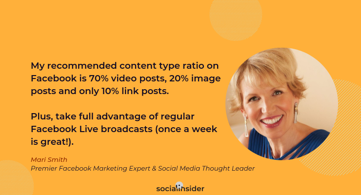 Here's Mari Smith's input about the Facebook content strategy in 2019