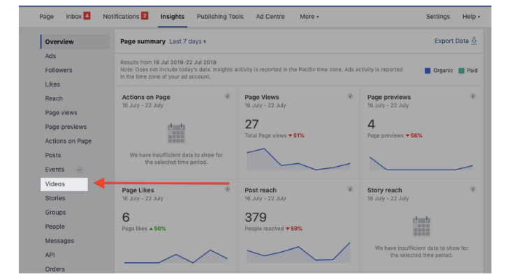 Here's how to access Facebook video insights for the pages you manage