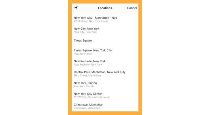 Location options.