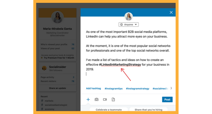 Include hashtags in your LinkedIn message