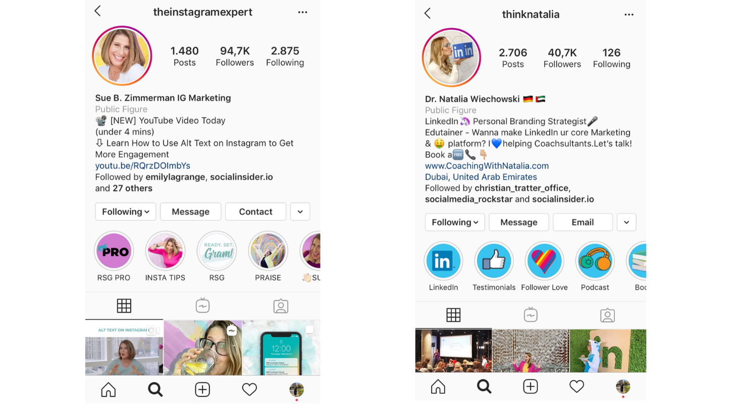 Ejemplos perfectos para una biografía de Instagram