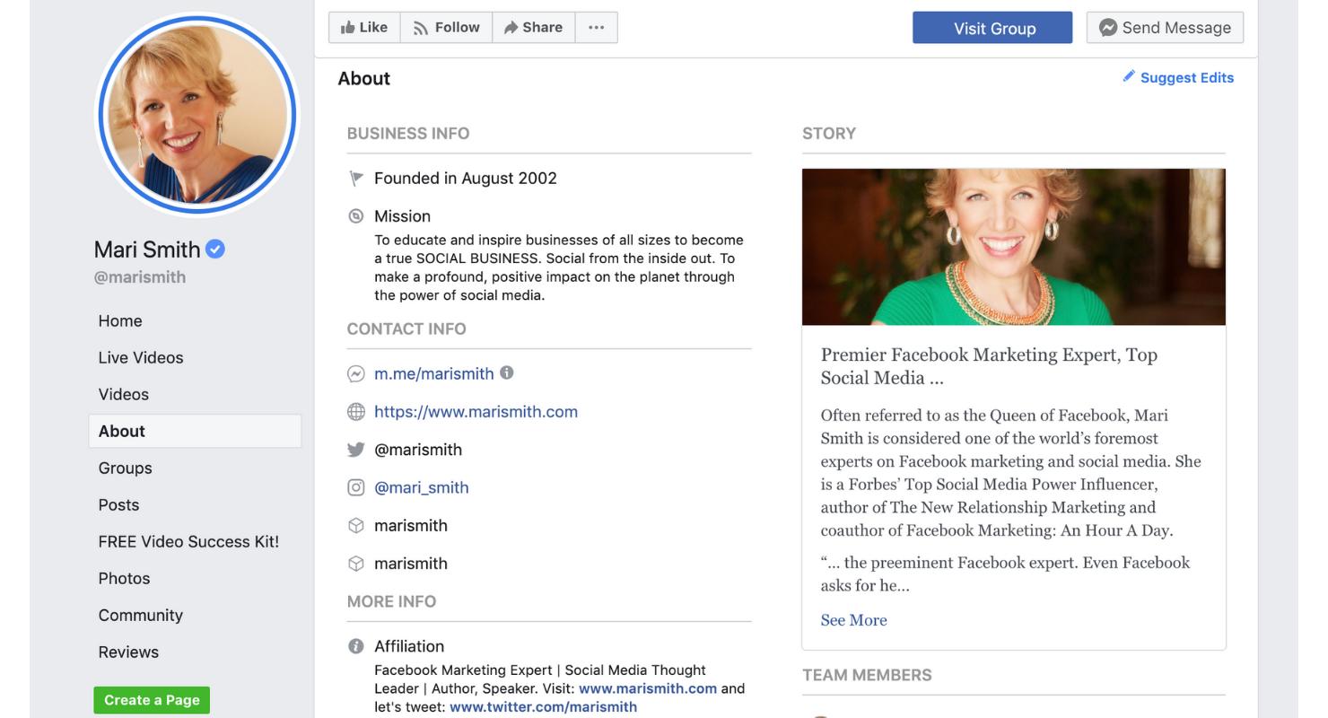 Cómo debería verse la información de tu página