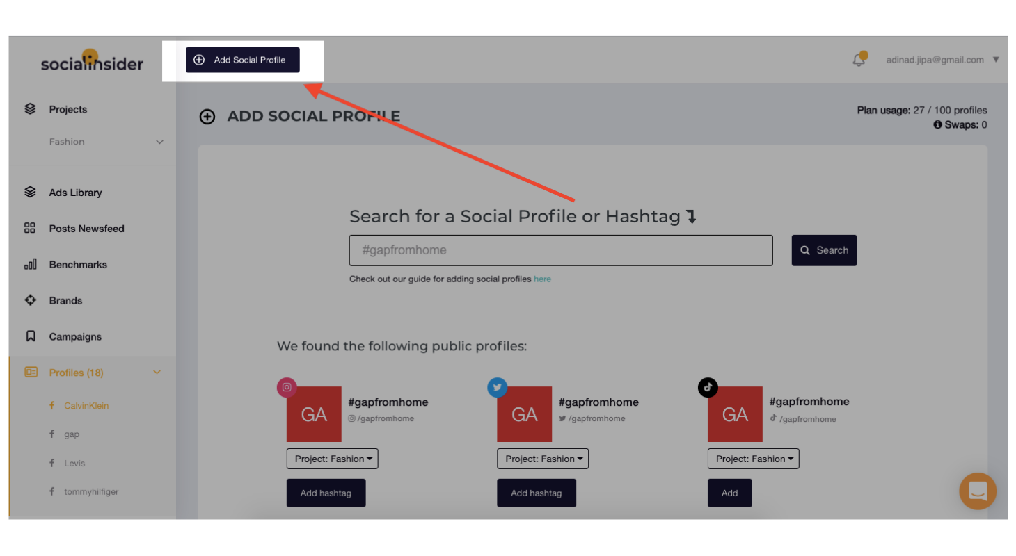 Step 1 - Click to 'Add Social Profile'