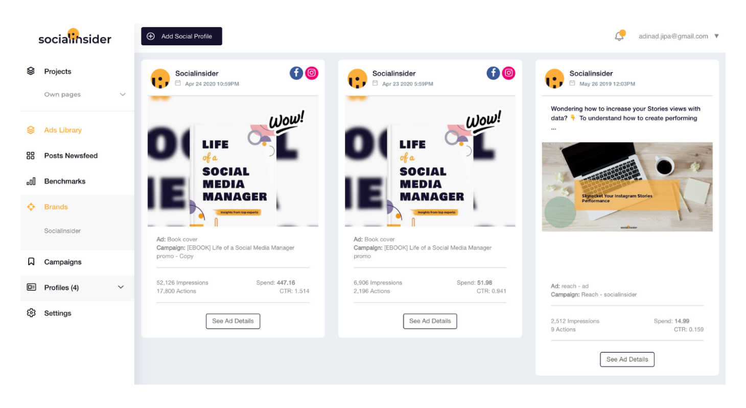 Get a holistic overview of your ads campaigns with Socialinsider