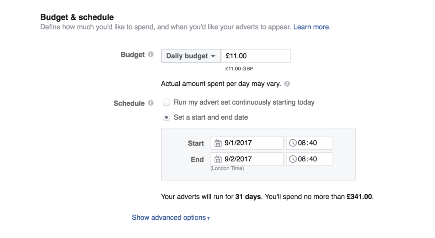 Select your facebook budget